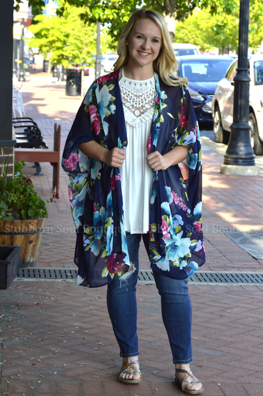 Weekend Dreaming Kimono in Navy Stubborn Soul Boutique