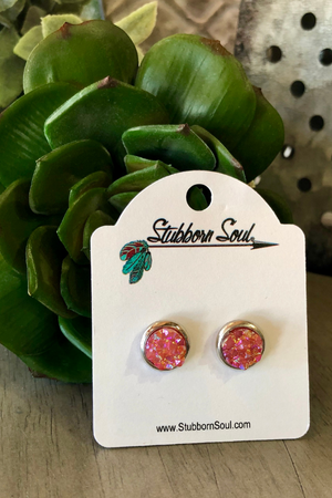 Shimmer Stud Earrings - Pink Stubborn Soul Boutique