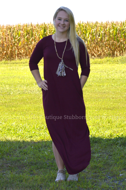 Gwen 3/4 Sleeve Maxi Dress in Dark Burgundy Stubborn Soul Boutique
