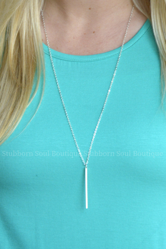 Long Bar Pendant Necklace - Silver