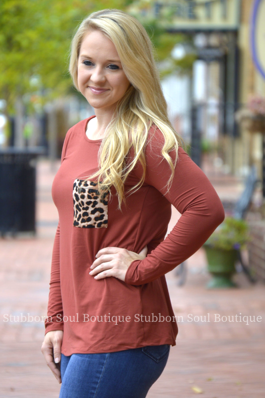 Kelsey Leopard Pocket Long Sleeve Top in Burgundy Stubborn Soul Boutique