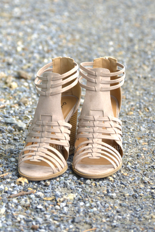 Denver Open Toe Booties in Taupe (Clearance) Booties Stubborn Soul Boutique