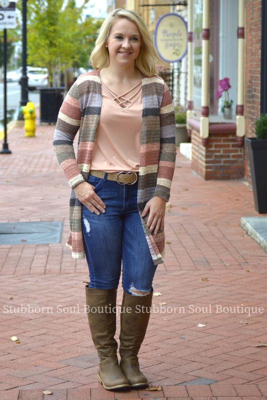 Cassidy Striped Cardigan Stubborn Soul Boutique