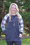 Kennedy Plaid Tunic in Grey