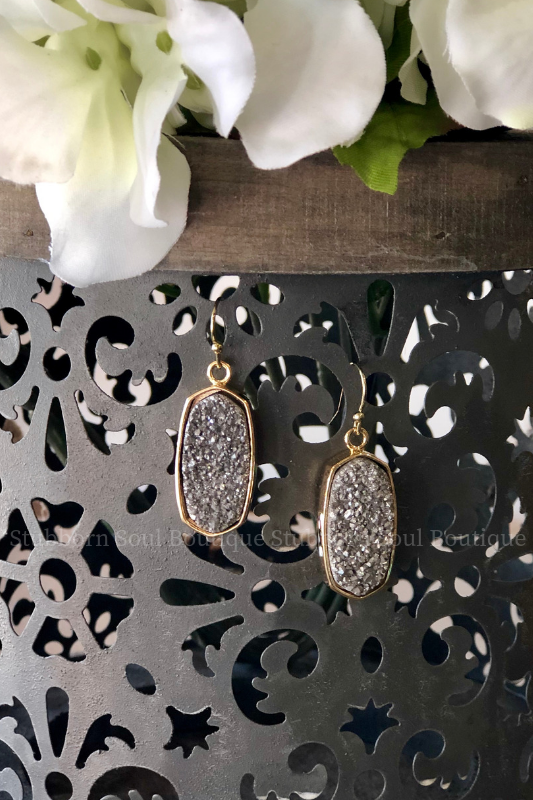 Oval Druzy Drop Earrings - Grey Stubborn Soul Boutique