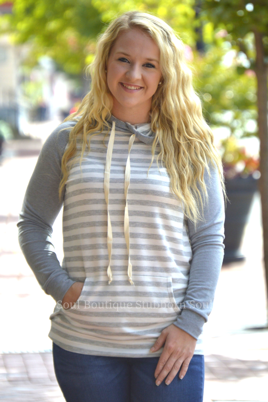 Melody Striped Grey Hoodie Stubborn Soul Boutique