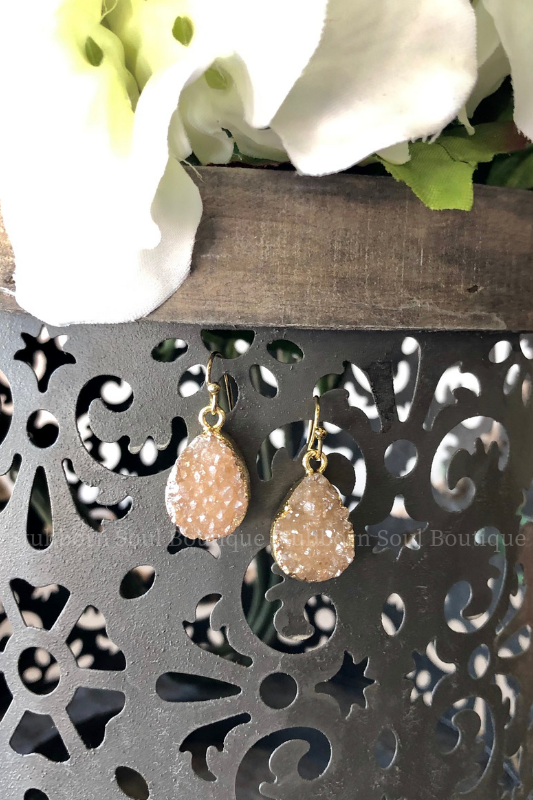 Druzy Drop Earrings - Natural Stubborn Soul Boutique