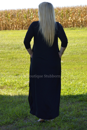 Gwen 3/4 Sleeve Maxi Dress in Black Stubborn Soul Boutique