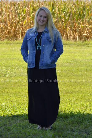 Gwen 3/4 Sleeve Maxi Dress in Black Jean Jacket Stubborn Soul Boutique