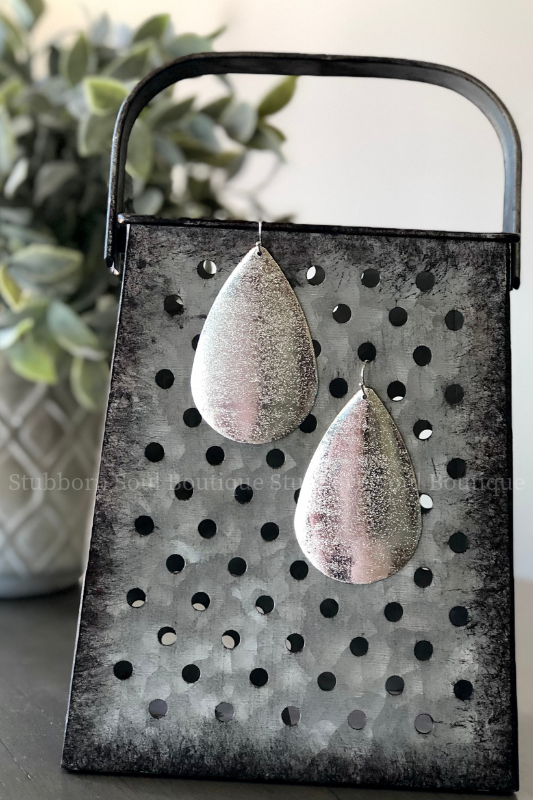 Metal Teardrop Earrings - Silver Stubborn Soul Boutique