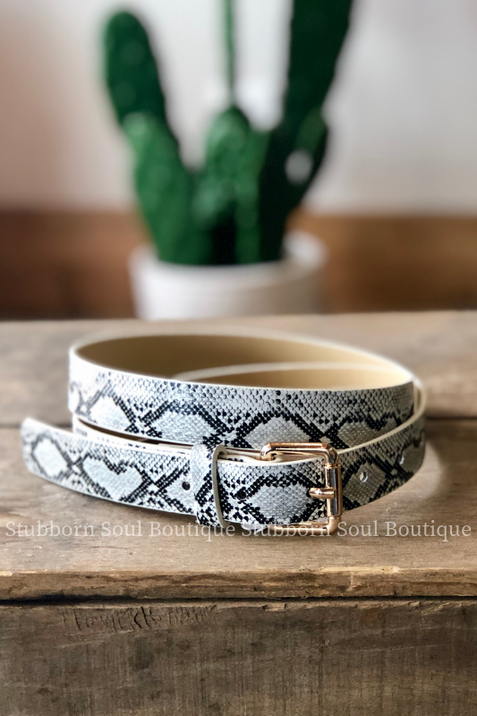 White Snake Belt Stubborn Soul Boutique