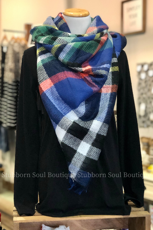 Cozy Feeling Blanket Scarf Royal Blue Stubborn Soul Boutique