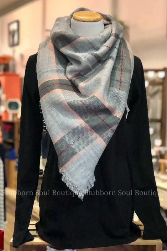 Cozy Feeling Blanket Scarf Ash & Blush