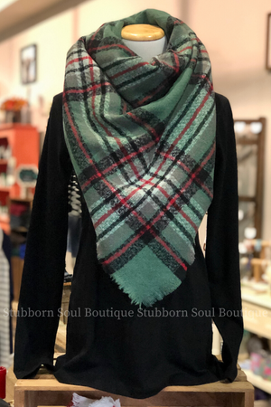 Cozy Feeling Blanket Scarf Olive & Red Stubborn Soul Boutique