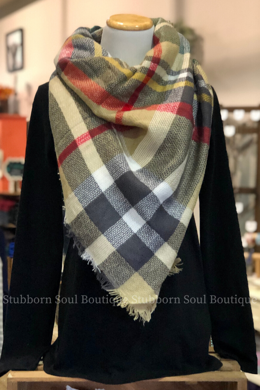 Cozy Feeling Blanket Scarf Khaki & Red (Clearance)