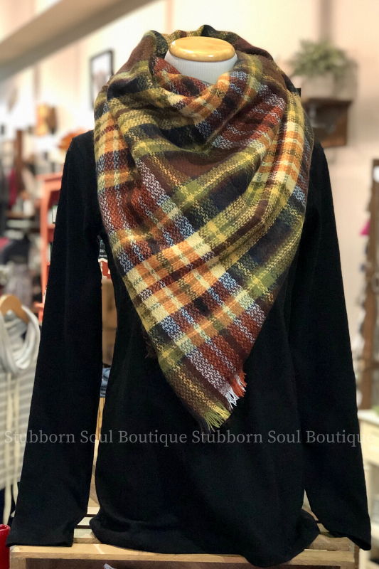 Cozy Feeling Blanket Scarf Brick Plaid Stubborn Soul Boutique