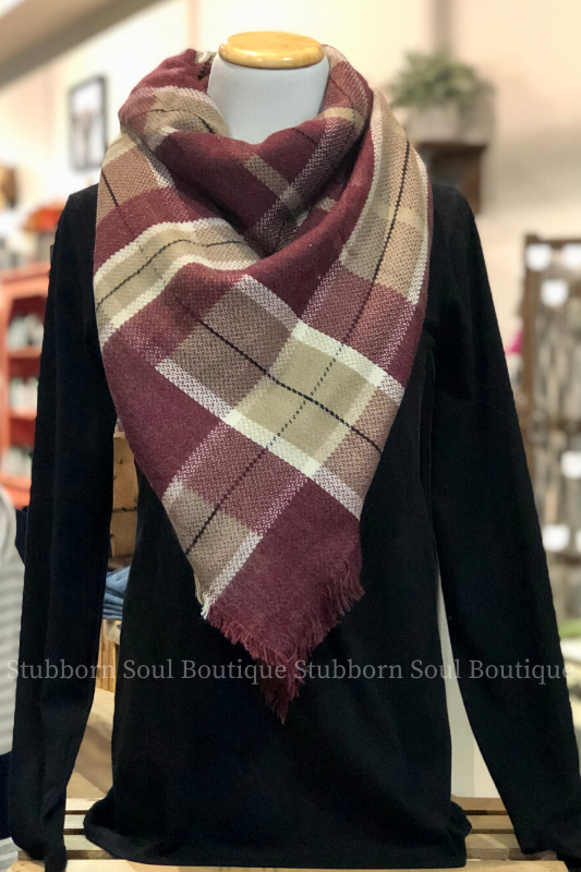 Cozy Feeling Blanket Scarf Burgundy Stubborn Soul Boutique