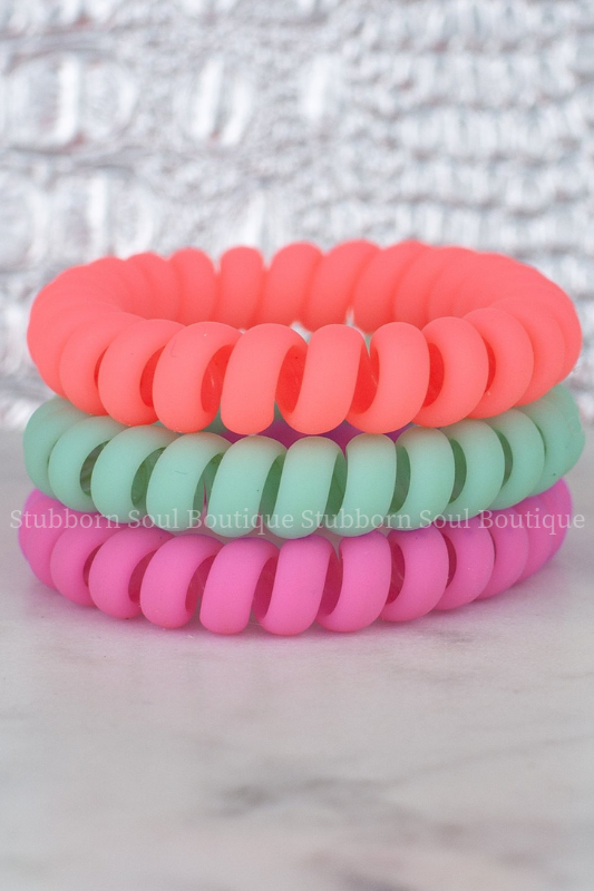 Tropical Matte Hair Tie Set Hotline Hair Ties Stubborn Soul Boutique
