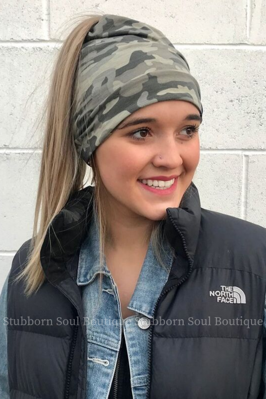 Faded Camo Peek a Boo Messy Bun Beanie Stubborn Soul Boutique