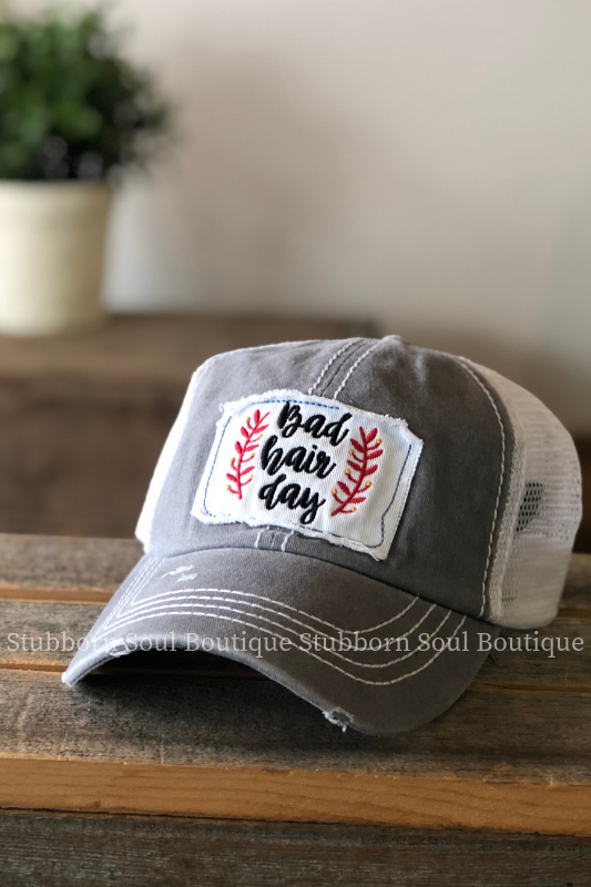 Bad Hair Day Patch Hat in Grey Stubborn Soul Boutique