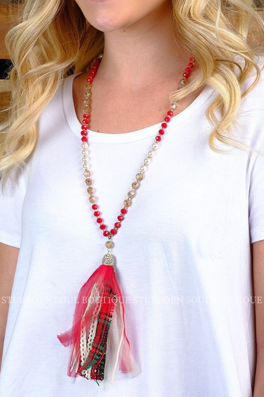 Red & Green Fabric Tassel Necklace Necklace Stubborn Soul Boutique