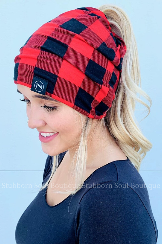 Red & Black Buffalo Check Peek a Boo Messy Bun Beanie