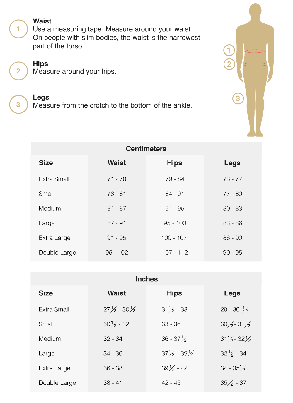 Long Pants Size Guide
