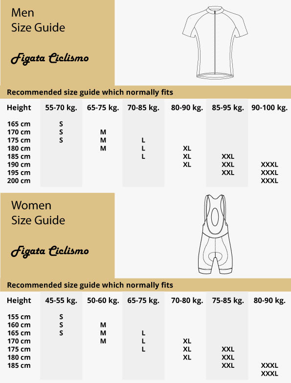 Cycling jersey size guide / chart Figata Ciclismo