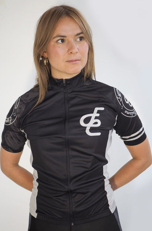 Serra Women Short Sleeve Cycling Jersey Black & Light Gray