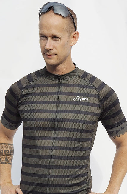 Short Sleeve Cycling Jersey Darkone Army Stripes (Size XS + S)