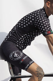 Short Sleeve Cycling Jersey Darkone Dots