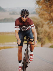 Short Sleeve Cycling Jersey Darkone Bourgogne Stripes