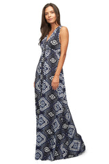 Long Sleeveless Caftan Print - Indigo Ikat
