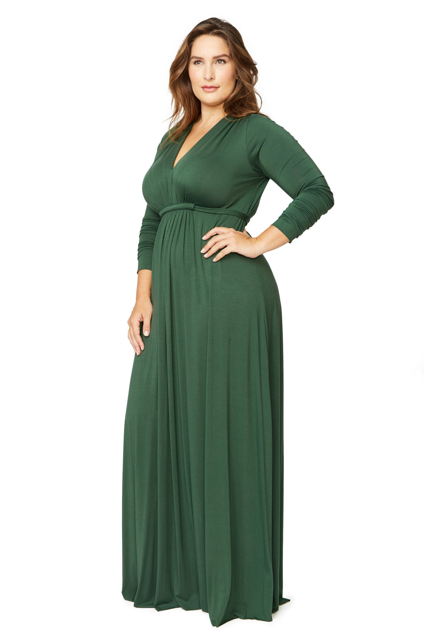 Long Sleeve Full Length Caftan - Fir, Plus Size