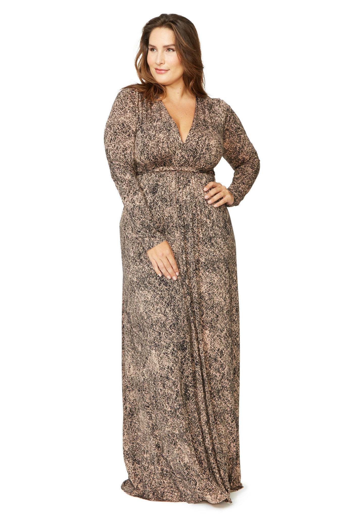 Long Sleeve Full Length Caftan Dress WL - Black Kinetic