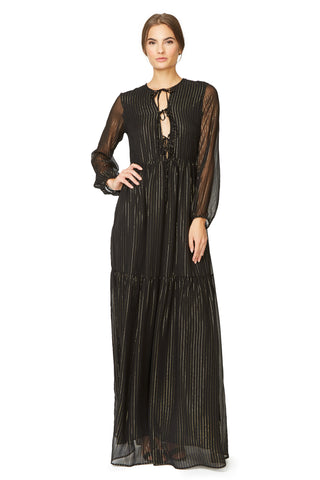 Olesya Dress - Black Gold Silk