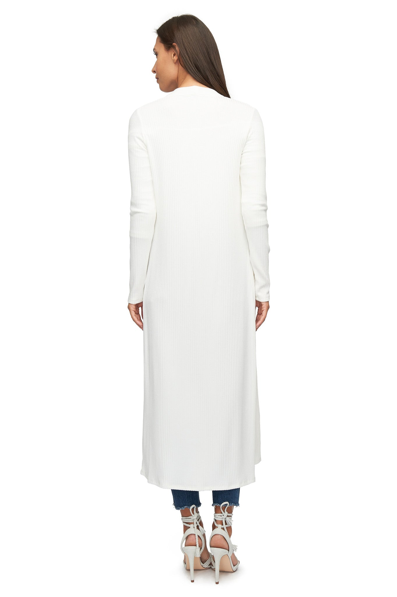 Rib Snap Sweater / Dress - White