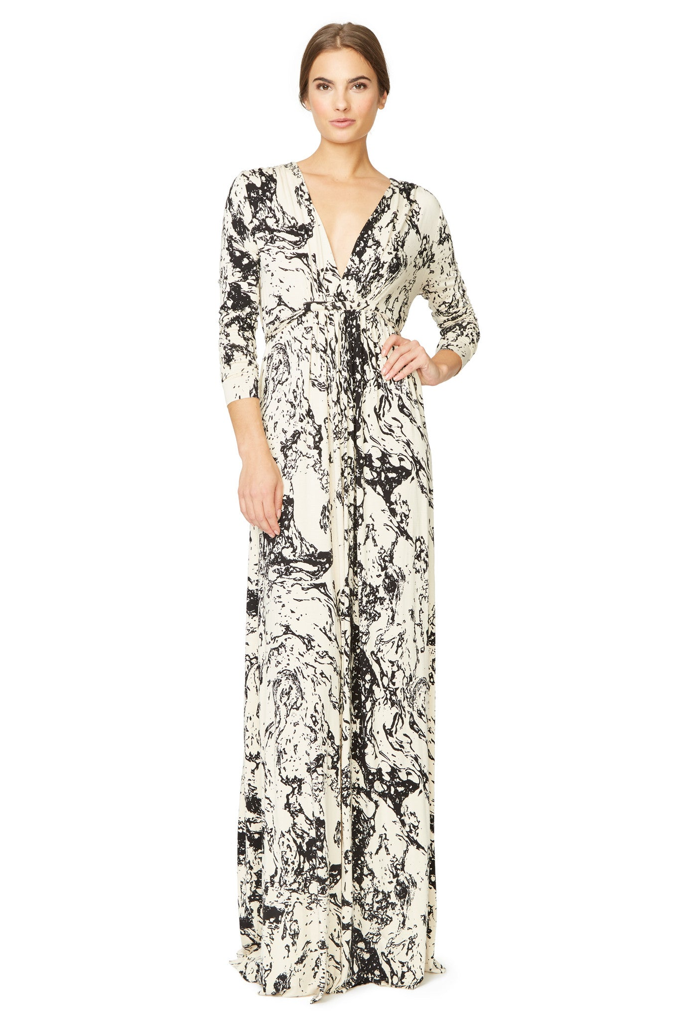 Long Sleeve Full Length Caftan Dress Print - Space