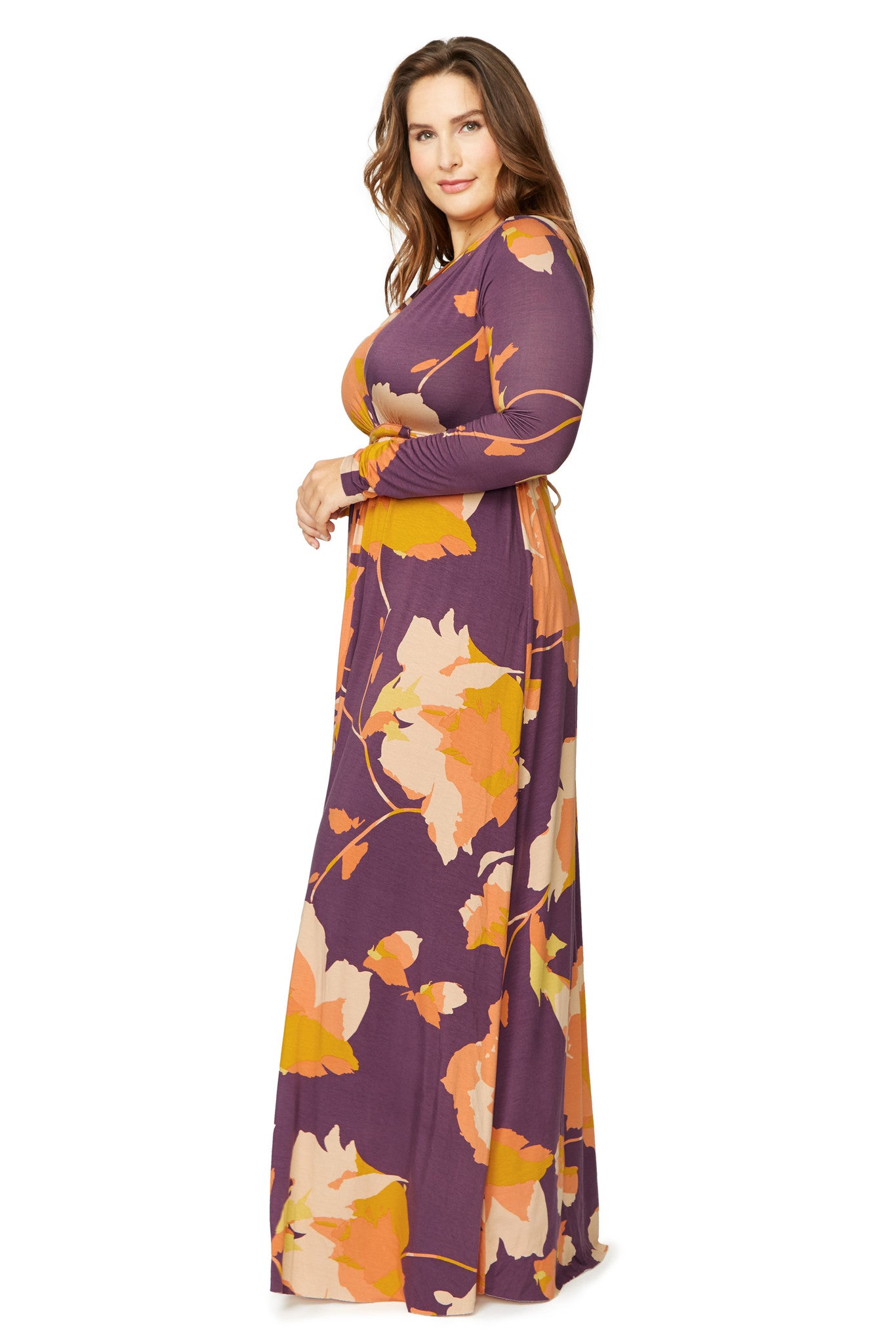 Long Sleeve Full Length Caftan WL Print - Desert Flower