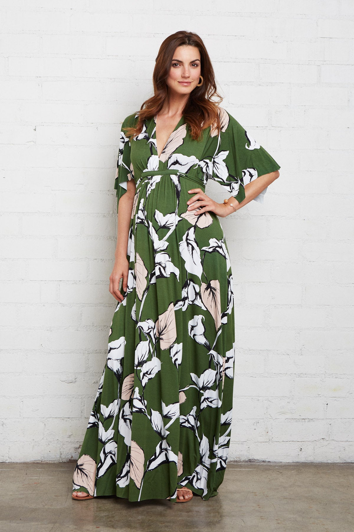 Long Caftan Dress - Calla Print, Maternity