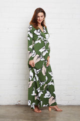 Long Sleeve Full Length Caftan - Calla Print, Maternity