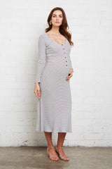 Rib Lorelei Dress - Black / White Stripe, Maternity