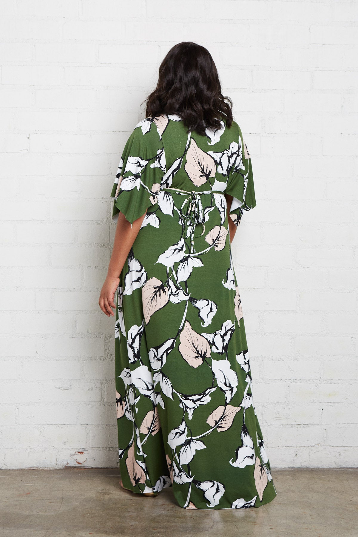 Long Caftan Dress - Calla Print, Plus Size
