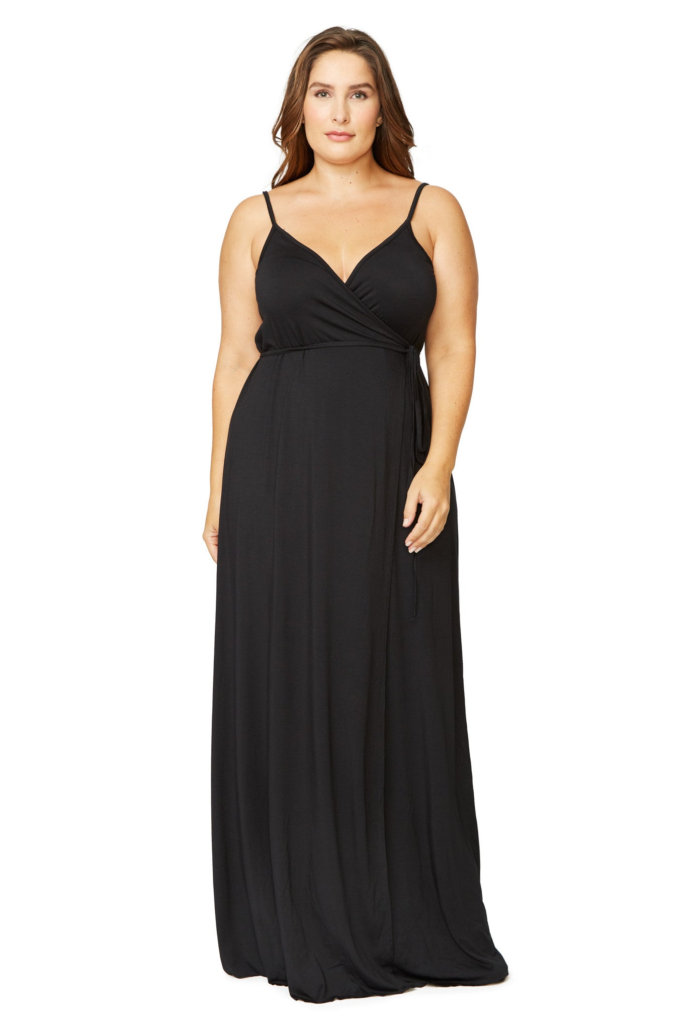 SPAGHETTI WRAP DRESS WL - BLACK, PLUS SIZE