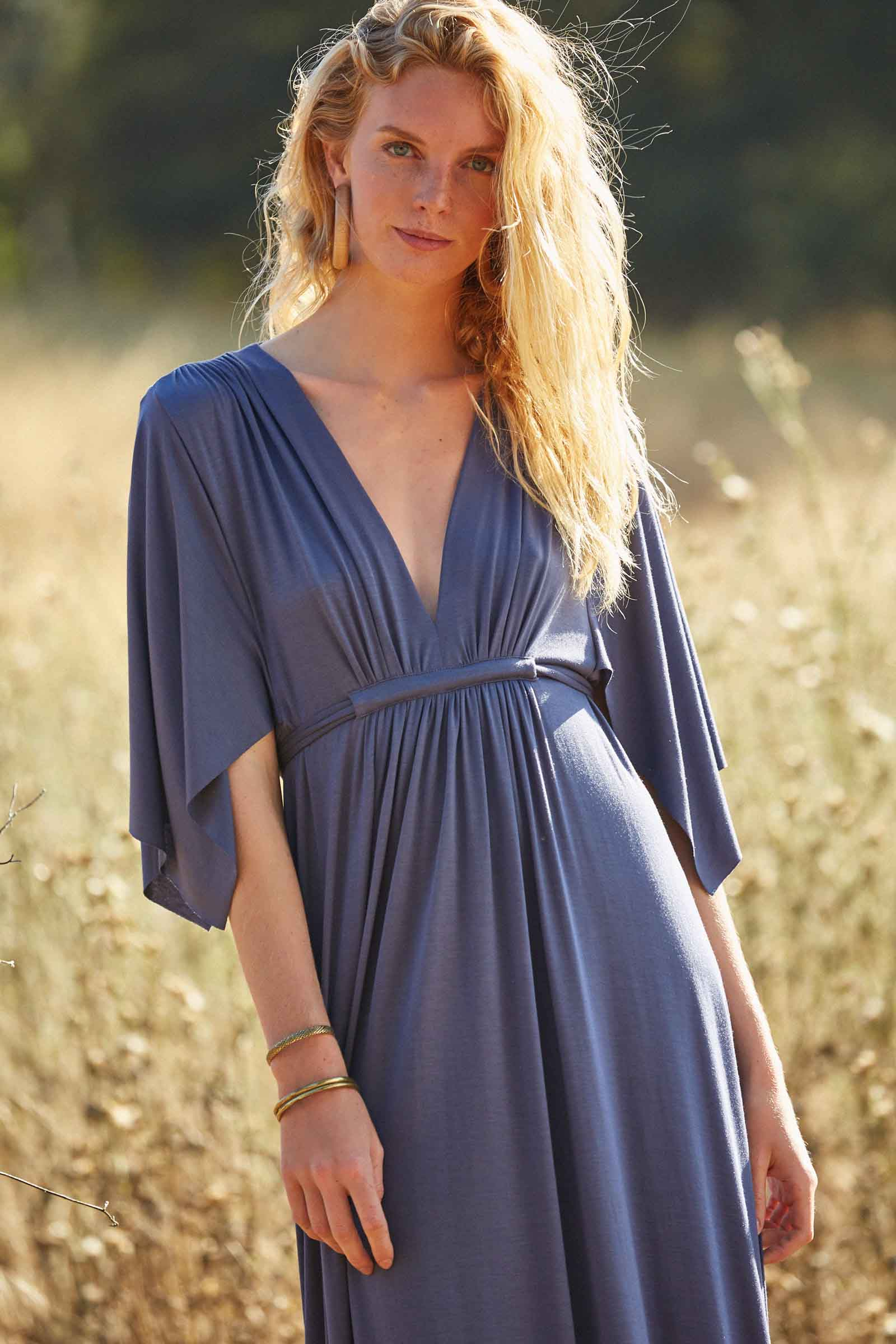 Long Caftan Dress - Slate