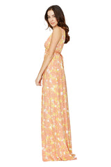 LONG SLEEVELESS CAFTAN DRESS PRINT - FIORE