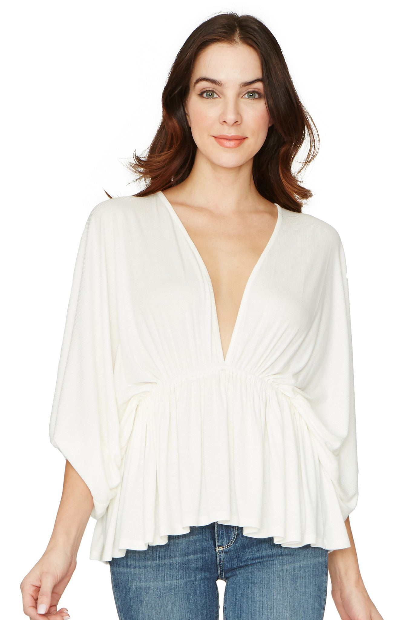 Rib Oversized Spike Tunic - White