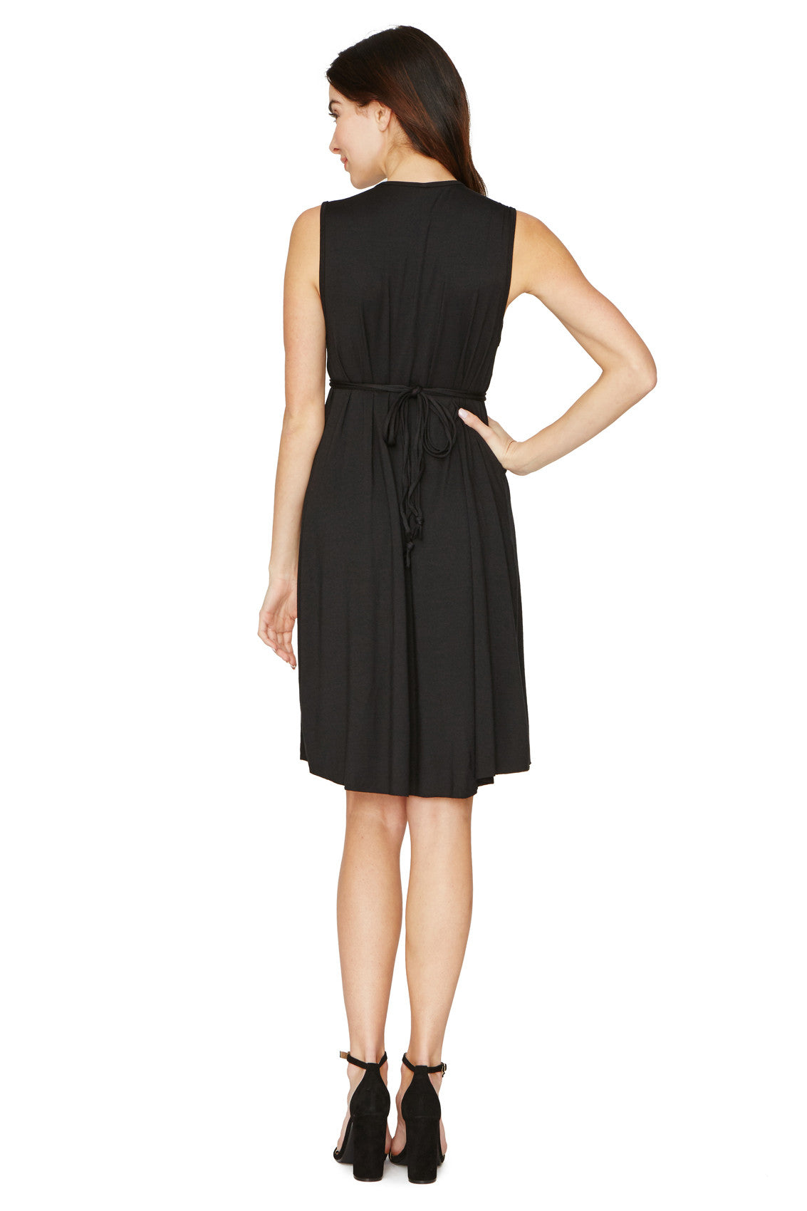 SHORT SLEEVELESS CAFTAN DRESS - BLACK