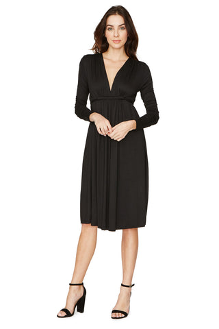 LONG SLEEVE CAFTAN DRESS - BLACK