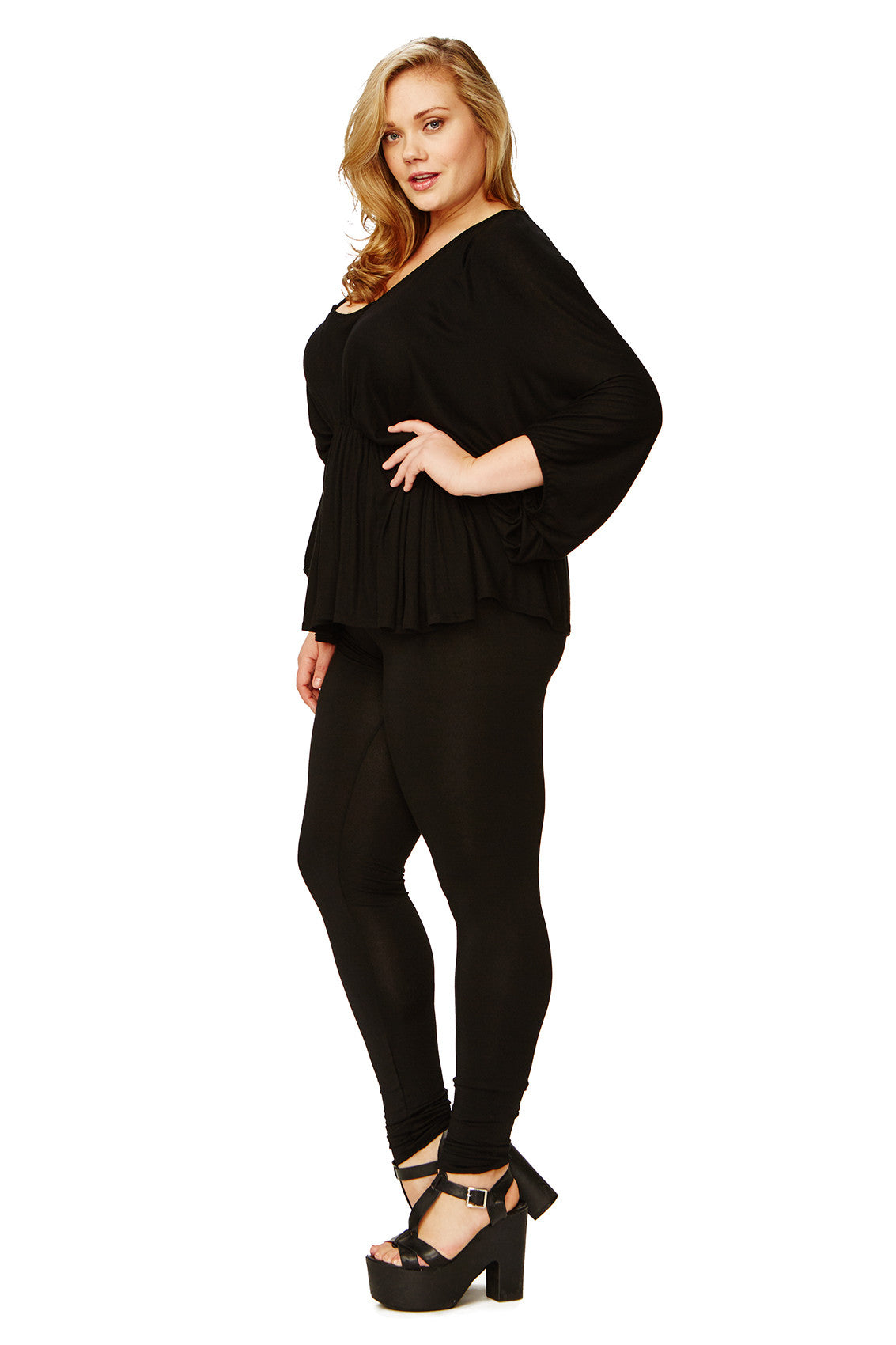 RIB OVERSIZED SPIKE TUNIC WL - BLACK